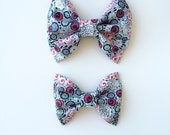 Pretty floral bow, hair bow, headband, magenta, mint, black, pink, gray, you choose one, toddler, baby bow, hair clip