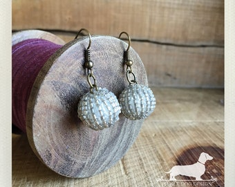 CLEARANCE! Disco Ball. Dangle Earrings -- (Vintage-Style, Boho Chic, Antiqued Brass, Elegant, Beaded Earrings, Rustic, OOAK, Gift Under 5)