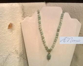"Unisex Necklace: Buddha Howlite, Amazonite,Quartzite and Brass Toggle Closure  ""Courage and Peace"""