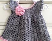 Hand Crocheted Newborn - 3 months Dress Crochet Dress - baby girl
