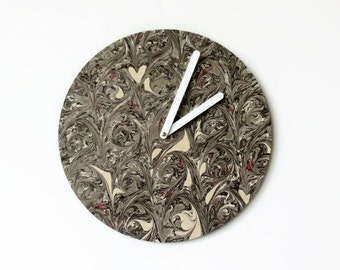 Wall Clocks, Wedding Gift, Abstract Gray Wall Art, Grey Marbled Clock, Home Decor, Decor and Housewares, Home and Living
