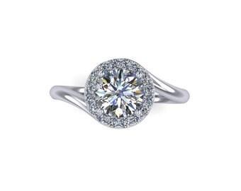 Moissanite round  engagement ring, 14k white gold, style 53WDM