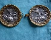 Vintage Flower Button Clasp Closure Ladies Elegant Button Fashion Accessory Victorian/Edwardian Era Cloak Clasp Button Jewelry As Found