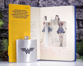 Hollow Book Safe & Hip Flask- The Secret History of Wonder Woman - Laser Engraved Monogram, Quote or Personalization