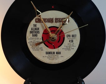 "Recycled ALLMAN BROTHERS BAND 7"" Record / Ramblin' Man / Record Clock"