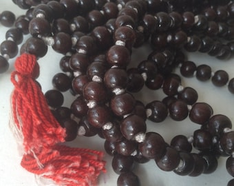 6mm or 7mm Indian Rosewood Knotted Mala 5 strands 540 Beads Dalbergia latifolia Rose Wood Small Leaf Rosewood ROS00