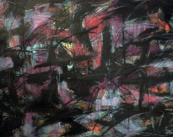 6-21-15 (abstract expressionist painting, black, blue, red, purple, magenta)