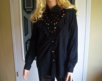 Vintage Ladies Country Western Shirt With Multi Colored Rhinestone Embellishment, 1980's Rodeo Western Wear