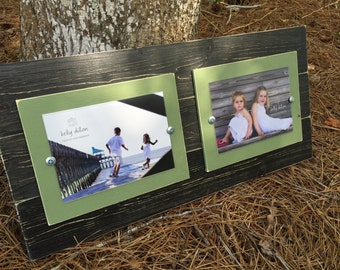 Distressed picture frame, gallery wall, double frame, double 5x7, 5x7 pucture frame