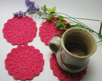 Pink Crochet Coaster Glass Coaster Crochet Doily Medium size