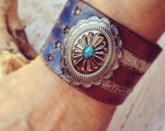 Rustic American Leather Flag Cuff Bracelet with Turquoise Concho