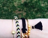 Nautical Rope and Chain Bracelet -in Black