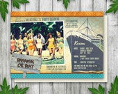 Retro Bachelorette Party Cruise Ship Invitation, Hen Party Invitation, Printable Bachelorette Invitation
