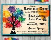 Love Wins, Gay Pride, Gay Marriage, Rainbow Tree Wedding Save the Date, Same Sex Wedding, Gay Wedding Save the Date, Printable Invitation