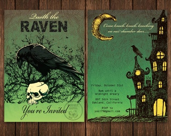 Printable Halloween Party Invitation, Edwardian Invitation, Quoth the Raven Invitation, Edgar Allan Poe Theme, Raven Invitation