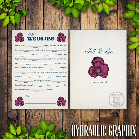 Wedlibs, Vintage Wedding Madlib Card, Printable Wedding Madlibs, Guest Book Alternative, Reception Game, Welcome Bag Stuffer, Wedding Favor