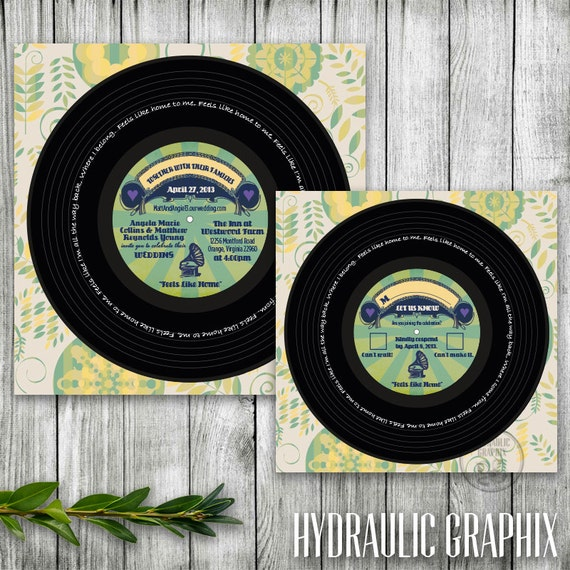 Vinyl record printable invitation and rsvp for wedding invitation or il570xn stopboris Images