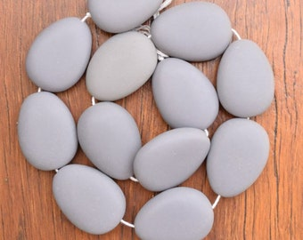 Resin beads 35mm x 26mm teardrops Solid Grey 1 x strand of 12