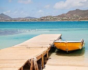 yellow boat at dock color print, still life photography, ocean, beach, yellow boat, bokeh, caribbean beach, pinel island, boat, dock