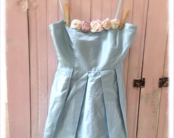SALE Bridesmaids Silk Ice Blue JCrew  Wedding Cocktail Dress Womens 0 Shabby Roses Strapless Romantic Bridal Pink Roses