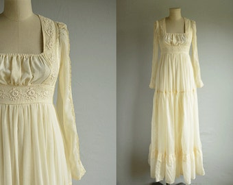 Vintage Gunne Sax Maxi Dress / 1970s Sheer Cream Lace Prairie Party Wedding Dress