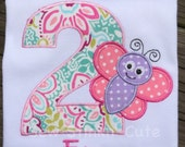 Personalized Embroidered/Appliqued Butterfly Birthday Shirt