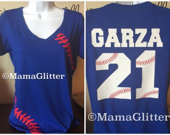 V- Neck Baseball Laces T-Shirt, baseball mom shirt