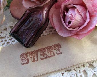Sweet Muslin Trim / SWEET Vintage Inspired Hand Stamped Trim / Wedding / Shower