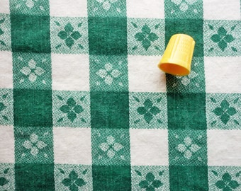 green and white check print vintage full feedsack fabric