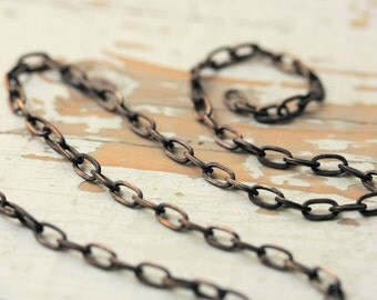 6ft Square Wire 4mm x 7mm Antiqued Brass Cable Chain, Flat Elongated Oval Solid Brass Chain Flattened Links