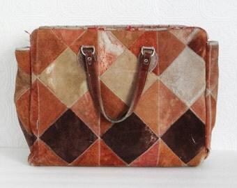 Vintage Oversized Suede Bag Distressed Patchwork 1970s
