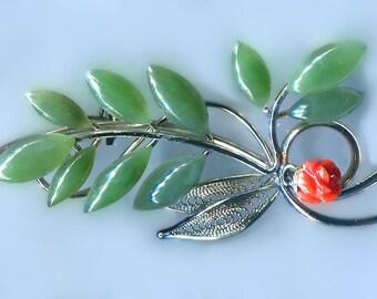 Vintage Jade & Carved Coral Brooch