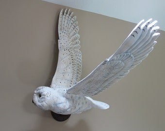 Owl carving, Hand Carved Snowy Owl wall mounted, Gift for Dad, Wedding, Birthday , Christmas, Wall art