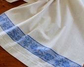 Vintage Damask Linen Towel Runner Blue Band Flowers Floral Kitchen Dish Guest Tea