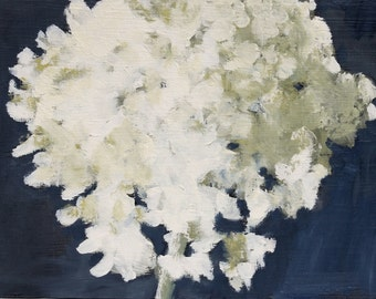 Hydrangea Painting, Still Life Original Oil on wood panel, 6x8 inch Canadian Art