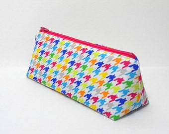SALE- Pencil Case, Rainbow Hounds-Tooth, One of a Kind
