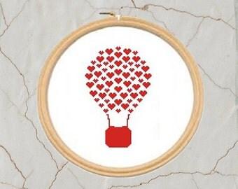 Love Balloon cross stitch pattern, PDF, Instant download
