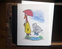 Puddle Splashing - A-2 Greeting Card - Elephant & Giraffe