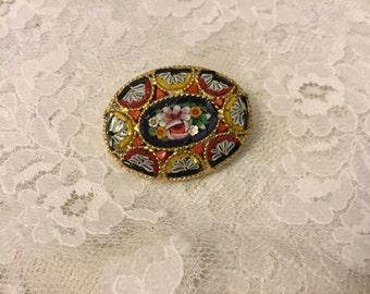 Vintage Mosaic Glass Brooch