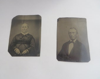 Antique 1800s Set of 2 Old Man and Old Woman Tin Types
