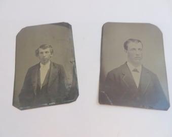Antique Tin Types Set of 2 Men Tinted