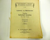 Vintage Music Book Beethoven Sonatas 259 Pages Piano Copyright 1894/1923/1930 Scrapbooking Crafts Instrumental Crafting
