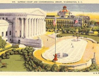 Vintage Linen Postcard...Supreme Court and Congressional Library, Washington, D.C.....Unused...no. 2536