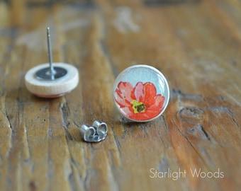 Red and blue poppy studs flower post earrings red earrings flower earrings eco friendly floral jewelry wood jewelry etsy wood earrings