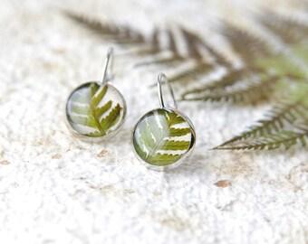Real Fern earrings - botanical handmade jewelry with pressed fern
