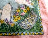 """8 Vintage Easter Dinner napkins Easter Baskets of Flowers 16 x 18"""" Cotton"""