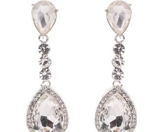 Wedding Crystal Earrings Bridal Jewelry Silver Cubic Zirconia Posts Large Teardrop Bridal Earrings Wedding Jewelry 6612