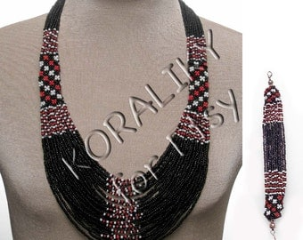 Black /Red /White. Traditional Ukrainian Beads NECKLACE, BRACELET.