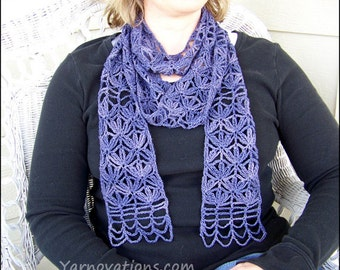Chutes and Lattice - Lacy CROCHET PATTERN - Purple, pink, coral scarf