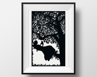 Girl Reading in a Pear Tree, Giclée Archival Illustrated print for Book lovers Literary Gift Wall Art Black White Silhouette Poster